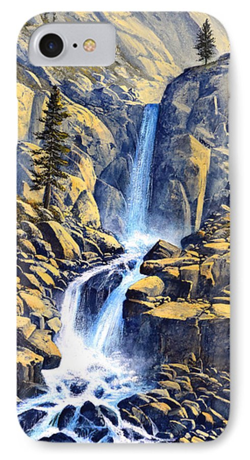 Wilderness Waterfall IPhone 7 Case featuring the painting Wilderness Waterfall by Frank Wilson