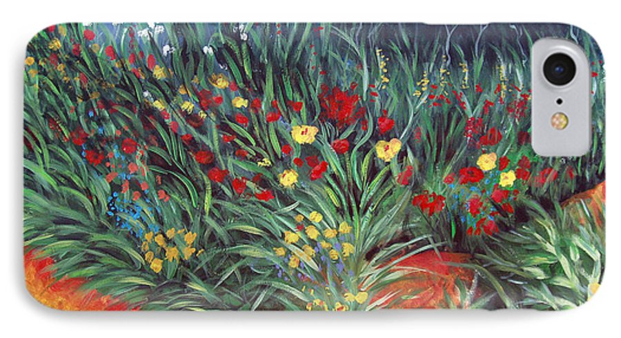 Landscape IPhone 7 Case featuring the painting Wildflower Garden 2 by Nancy Mueller
