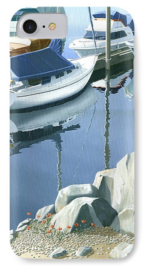 Sailboat IPhone 7 Case featuring the painting Wildflowers On The Breakwater by Gary Giacomelli
