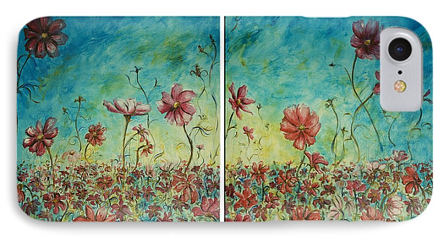 Flowers IPhone 7 Case featuring the painting Wind Dancers by Nik Helbig