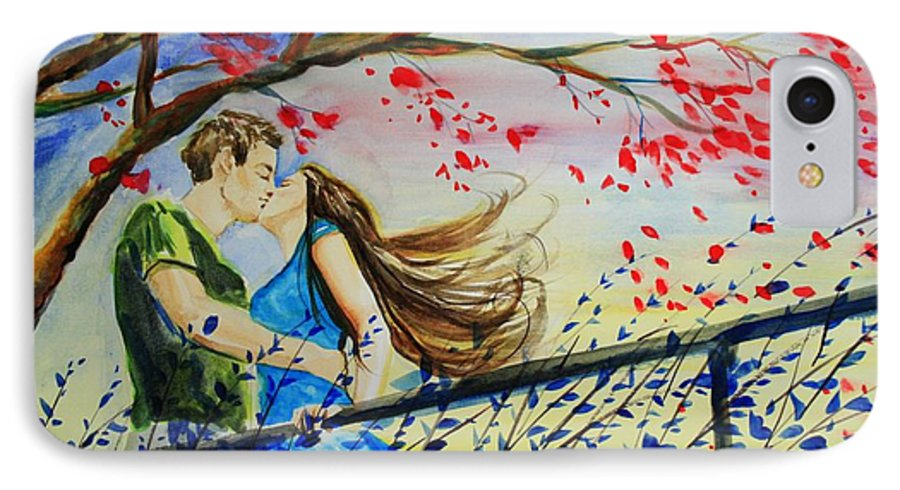 Wind IPhone 7 Case featuring the painting Windy Kiss by Laura Rispoli