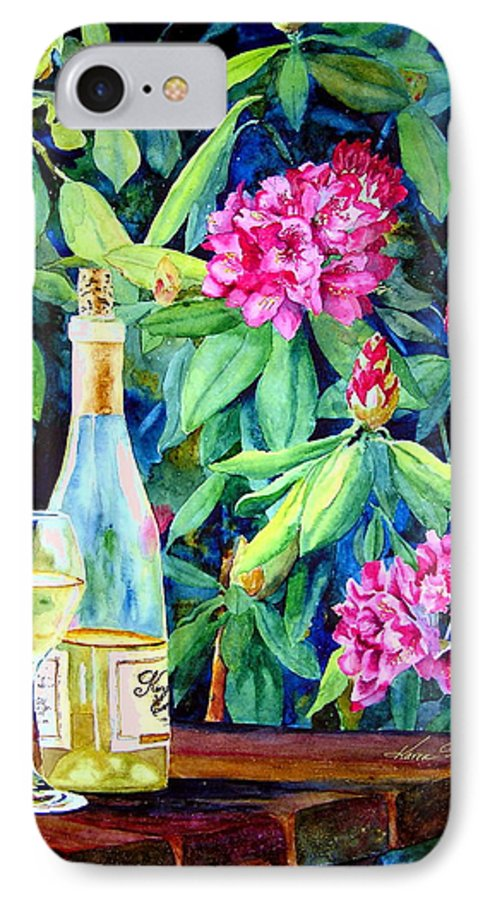 Rhododendron IPhone 7 Case featuring the painting Wine And Rhodies by Karen Stark