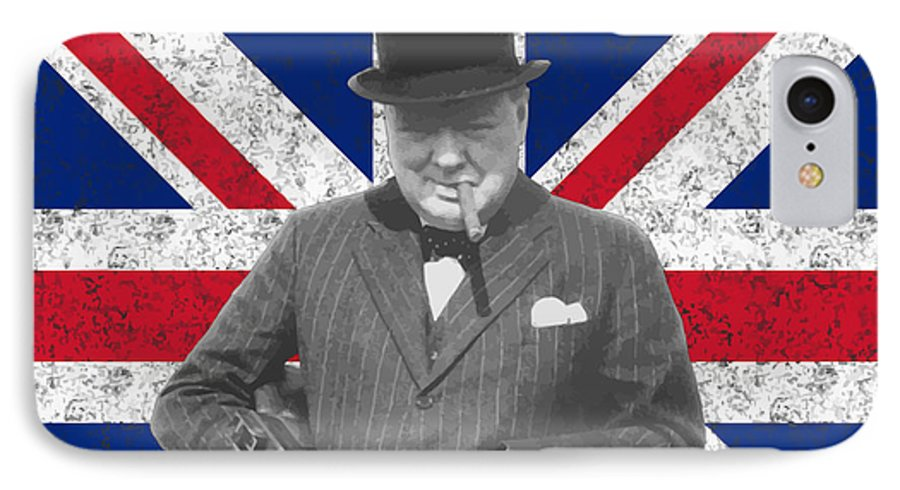 Winston Churchill IPhone 7 Case featuring the painting Winston Churchill And His Flag by War Is Hell Store