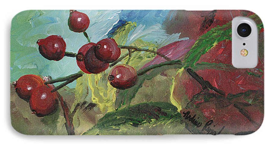 Berries IPhone 7 Case featuring the painting Winter Berries by Nadine Rippelmeyer