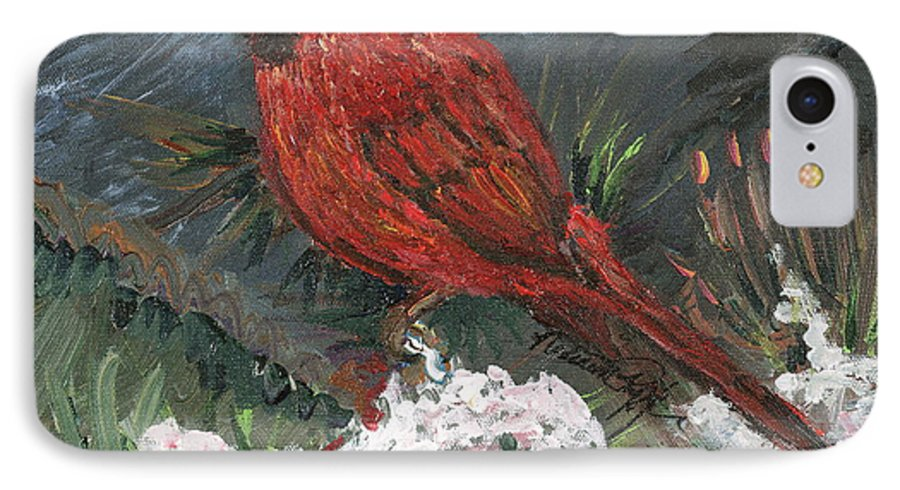 Bird IPhone 7 Case featuring the painting Winter Cardinal by Nadine Rippelmeyer