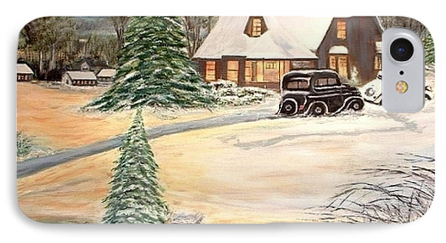 Landscape Home Trees Church Winter IPhone 7 Case featuring the painting Winter Home by Kenneth LePoidevin