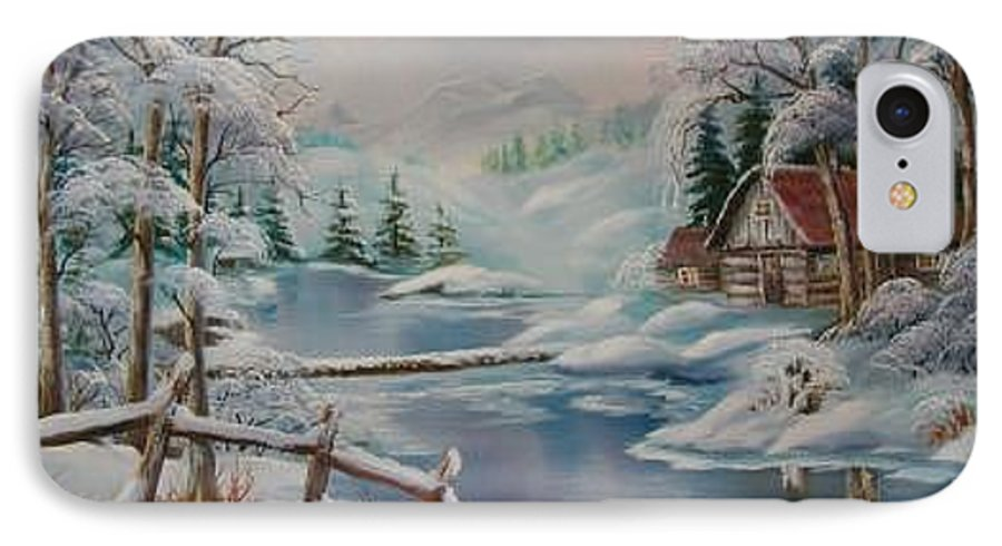 Winter Scapes IPhone 7 Case featuring the painting Winter In The Valley by Irene Clarke