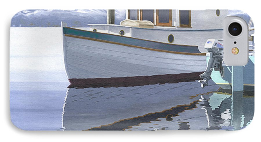 Marine IPhone 7 Case featuring the painting Winter Moorage by Gary Giacomelli