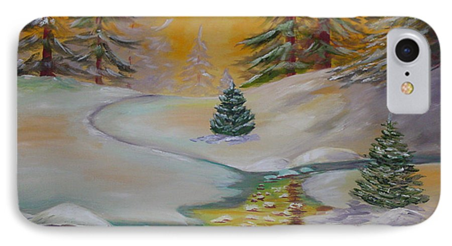 Winter IPhone 7 Case featuring the painting Winter by Quwatha Valentine