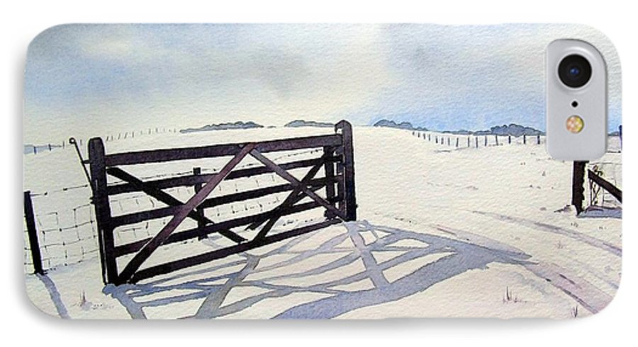 Landscape IPhone 7 Case featuring the painting Winter Scene With Gate by Paul Dene Marlor