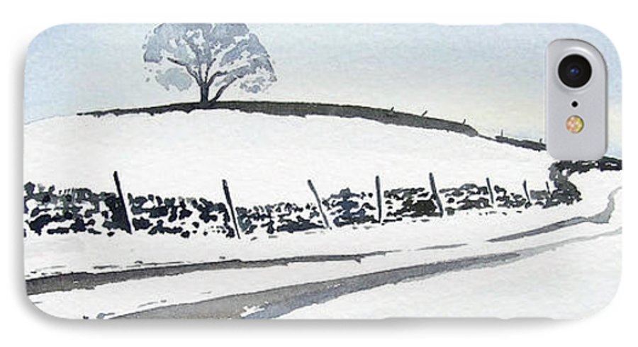 Snowscene In The Yorkshire Dales IPhone 7 Case featuring the painting Winter Snow In The Dales by Paul Dene Marlor