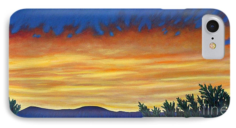 Sunset IPhone 7 Case featuring the painting Winter Sunset In El Dorado by Brian Commerford