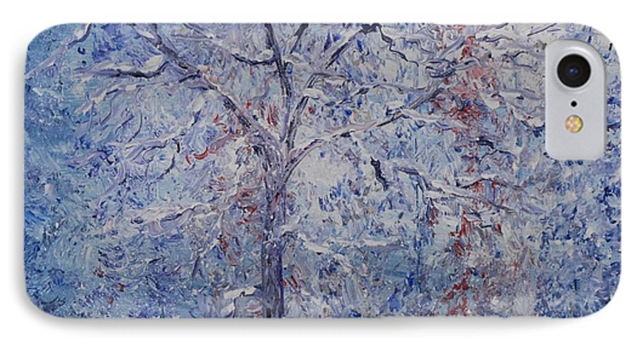 Winter IPhone 7 Case featuring the painting Winter Trees by Nadine Rippelmeyer