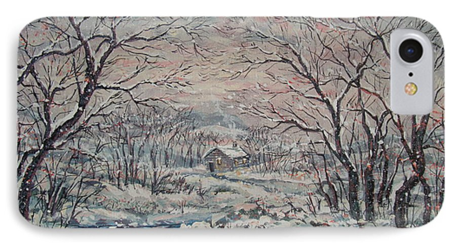 Landscape IPhone 7 Case featuring the painting Wintery December by Leonard Holland