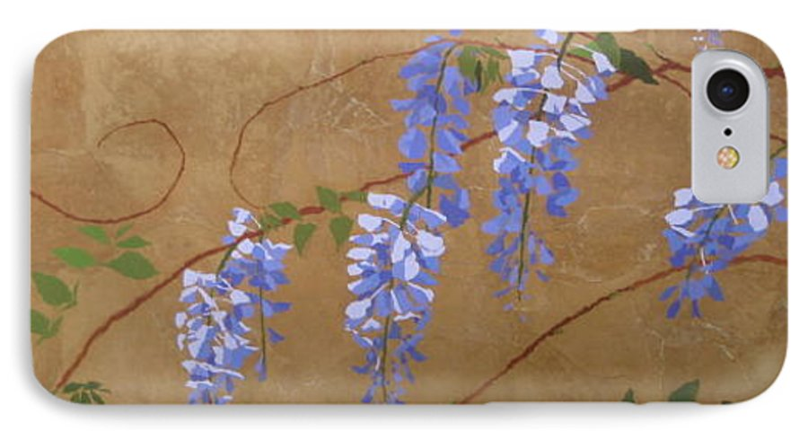 Periwinkle Wisteria Flowers IPhone Case featuring the painting Wisteria by Leah Tomaino