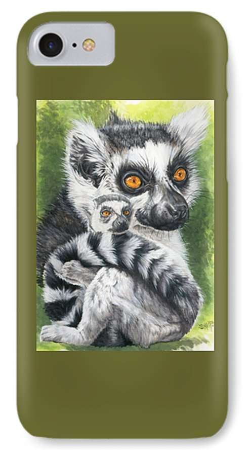 Lemur IPhone 7 Case featuring the mixed media Wistful by Barbara Keith