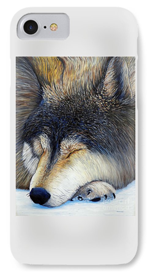 Wolf IPhone 7 Case featuring the painting Wolf Dreams by Brian Commerford
