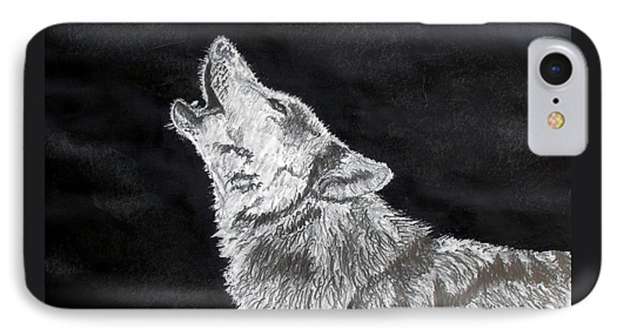 Pencil IPhone 7 Case featuring the drawing Wolf Howl by Stan Hamilton