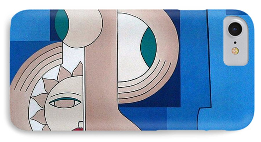 Women Bips Bleu Modern IPhone 7 Case featuring the painting Women And Questions by Hildegarde Handsaeme