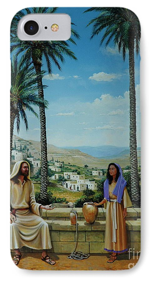 Jesus IPhone 7 Case featuring the painting Women At The Well by Michael Nowak