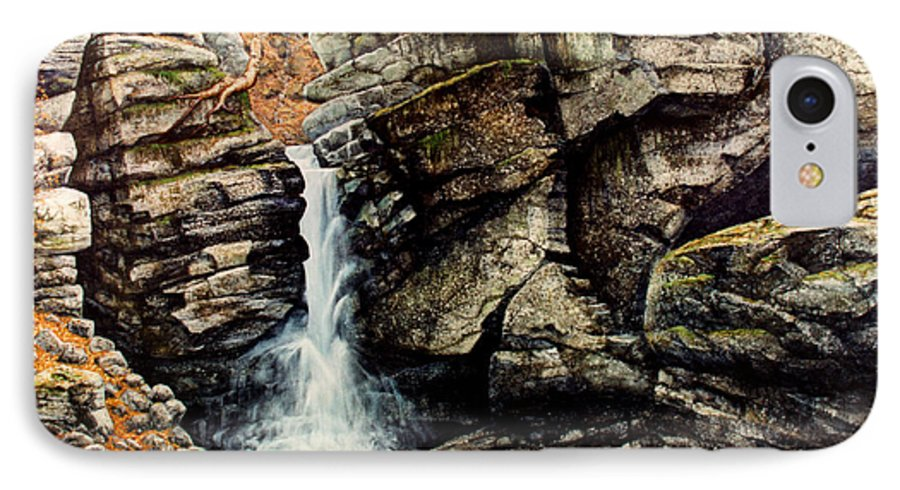 Waterfall IPhone 7 Case featuring the painting Woodland Falls by Frank Wilson