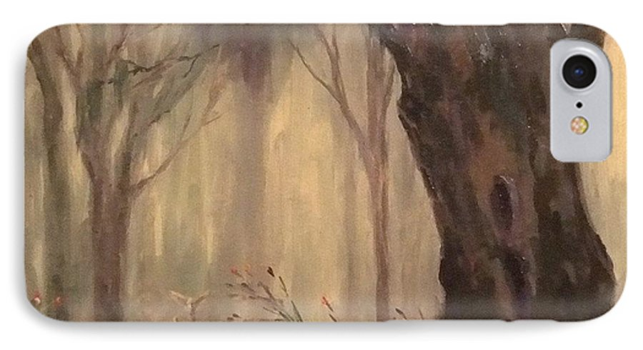 Landscape IPhone 7 Case featuring the painting Woodland Fawn by Ruth Stromswold