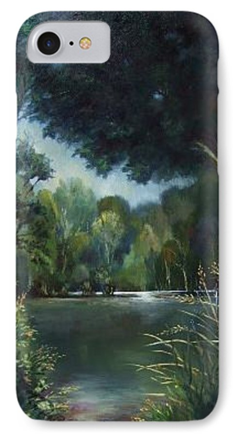 Landscape Woodland IPhone 7 Case featuring the painting Woodland Pond by Ruth Stromswold