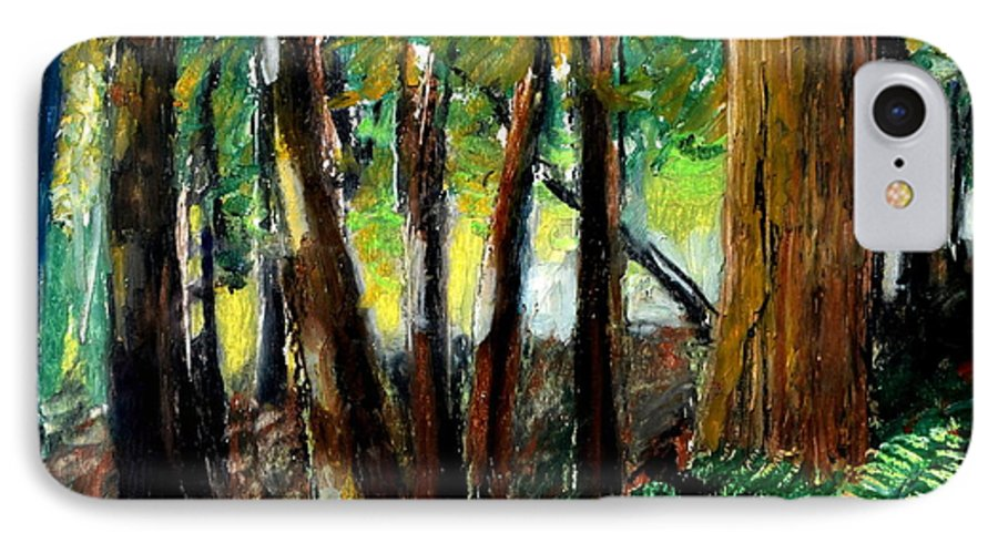 Livingston Trail IPhone 7 Case featuring the drawing Woodland Trail by Michelle Calkins