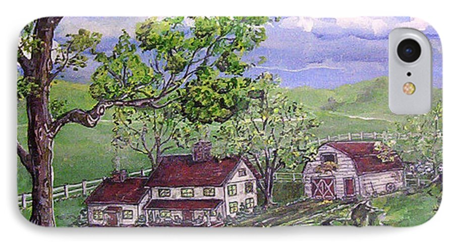 Landscape IPhone 7 Case featuring the painting Wyoming Homestead by Phyllis Mae Richardson Fisher