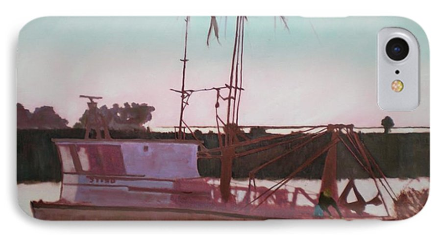Seascape IPhone 7 Case featuring the digital art Yankee Town Fishing Boat by Hal Newhouser