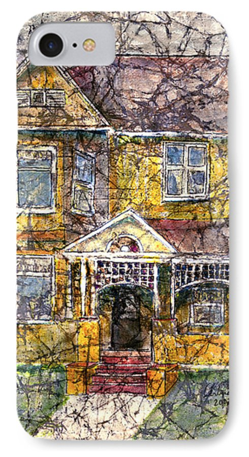 House IPhone 7 Case featuring the mixed media Yellow Batik House by Arline Wagner