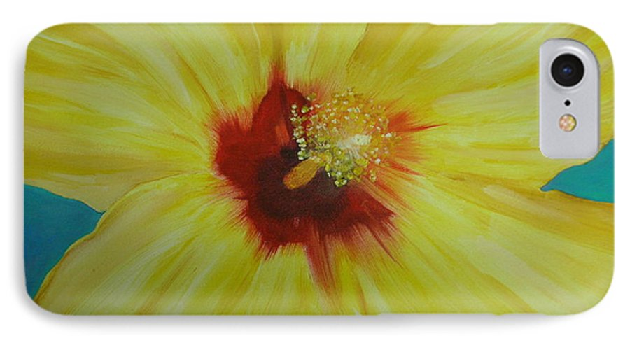 Flower IPhone 7 Case featuring the print Yellow Hibiscus by Melinda Etzold