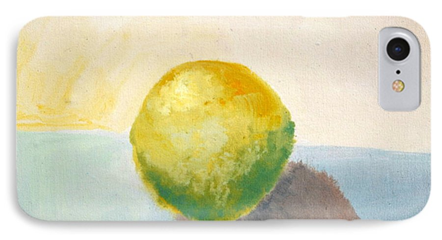 Lemon IPhone 7 Case featuring the painting Yellow Lemon Still Life by Michelle Calkins