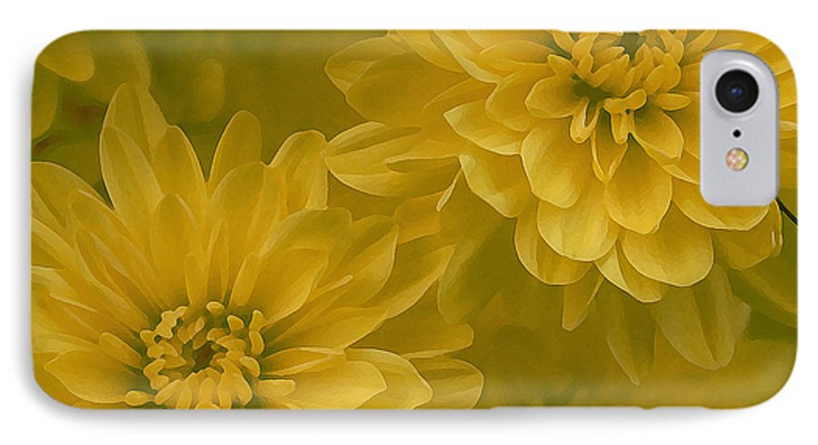 Yellow Mum Art IPhone 7 Case featuring the photograph Yellow Mums by Linda Sannuti