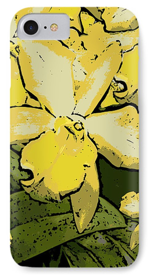 Orchid IPhone 7 Case featuring the photograph Yellow Orchids Woodcut by Ann Tracy
