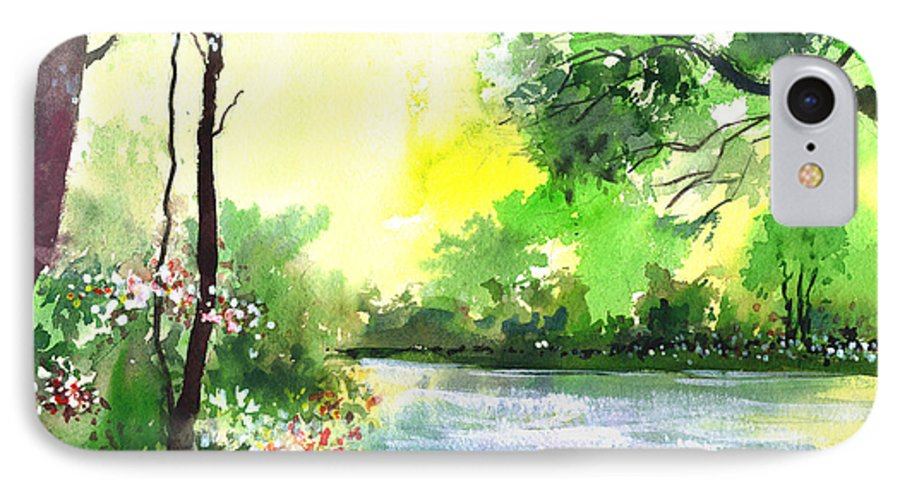 Sky IPhone 7 Case featuring the painting Yellow Sky by Anil Nene
