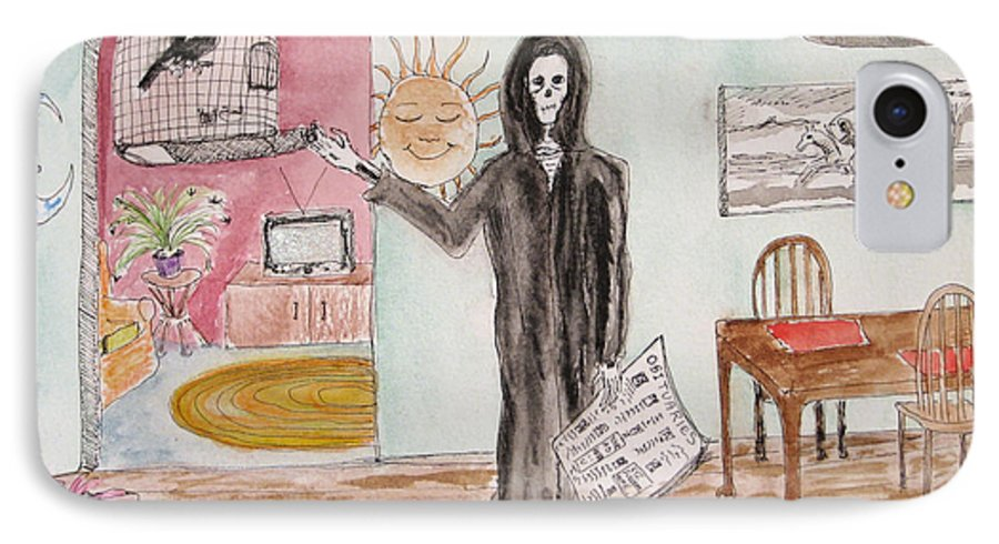 Bird Birdcage Darkestartist Death Home Humor Ink Watercolor Watercolour Darkest Artist IPhone 7 Case featuring the painting Yesterdays News by Darkest Artist