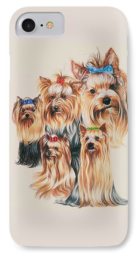 Purebred IPhone 7 Case featuring the drawing Yorkshire Terrier by Barbara Keith