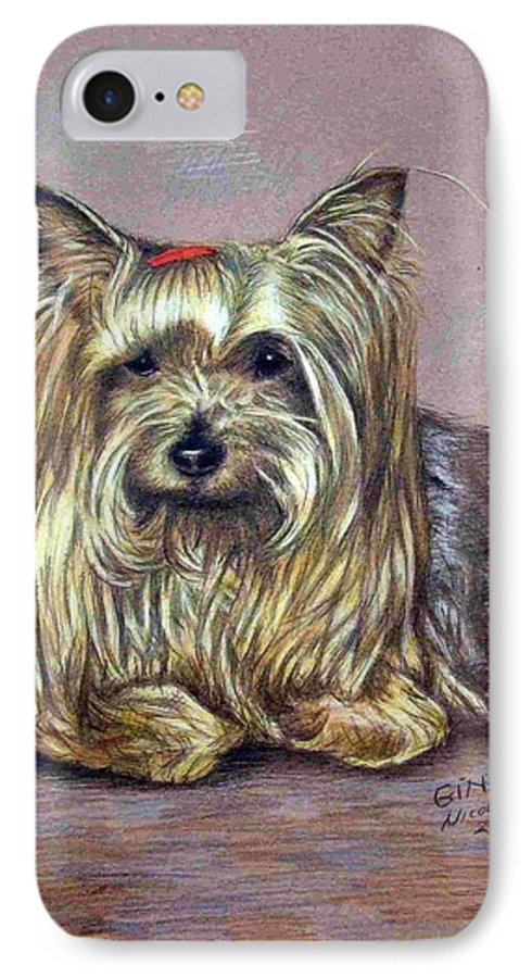 Dog IPhone 7 Case featuring the drawing Yorkshire Terrier by Nicole Zeug