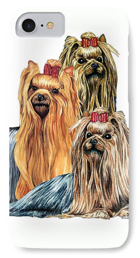 Yorkshire Terrier IPhone 7 Case featuring the drawing Yorkshire Terriers by Kathleen Sepulveda