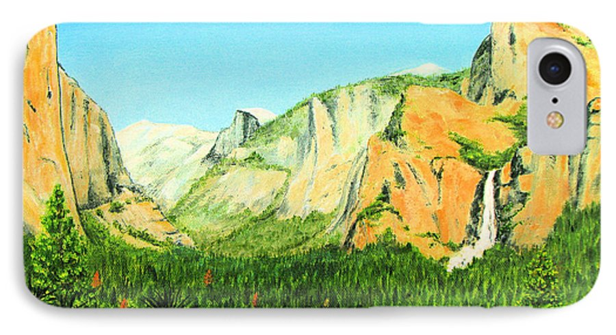 Yosemite National Park IPhone 7 Case featuring the painting Yosemite National Park by Jerome Stumphauzer