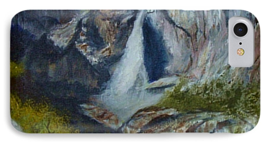 Waterfall IPhone 7 Case featuring the painting Yosemite Waterfall by Quwatha Valentine