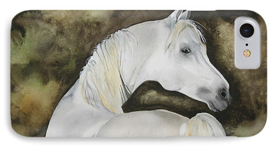 Horse IPhone 7 Case featuring the painting You Talking To Me by Jean Blackmer