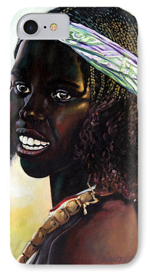 Young Black African Girl IPhone 7 Case featuring the painting Young Black African Girl by John Lautermilch