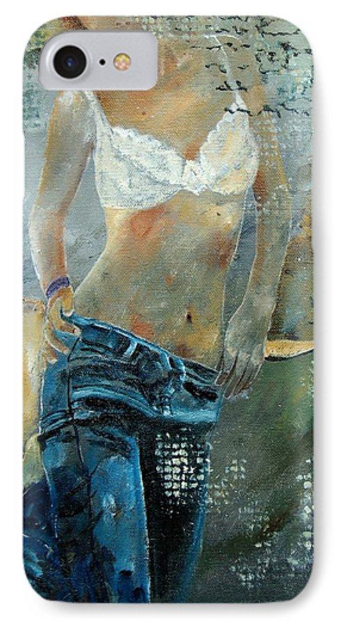 Girl IPhone 7 Case featuring the painting Young Girl In Jeans by Pol Ledent