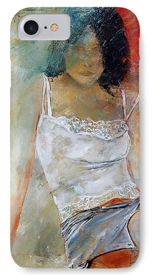 Nude IPhone 7 Case featuring the painting Young Girl Sitting by Pol Ledent