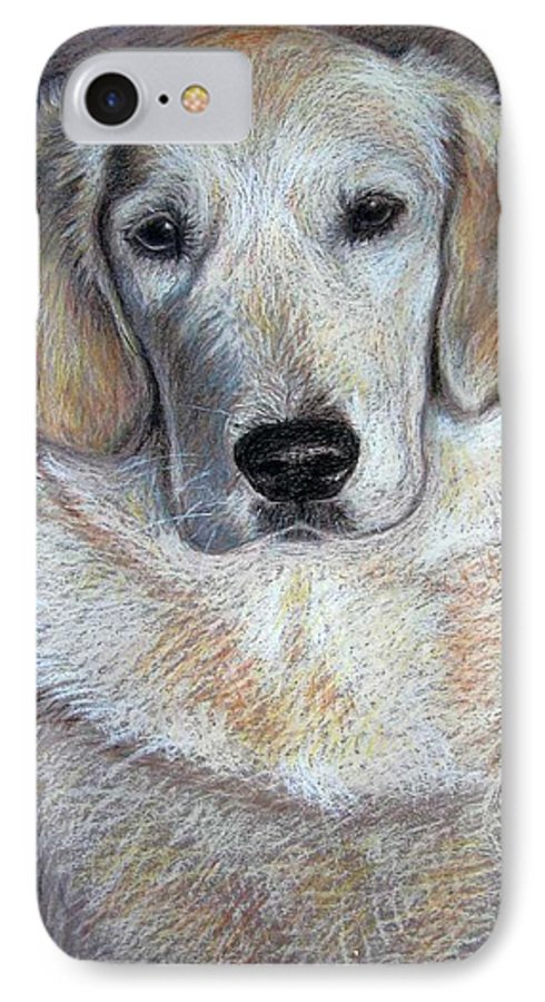 Dog IPhone 7 Case featuring the pastel Young Golden Retriever by Nicole Zeug