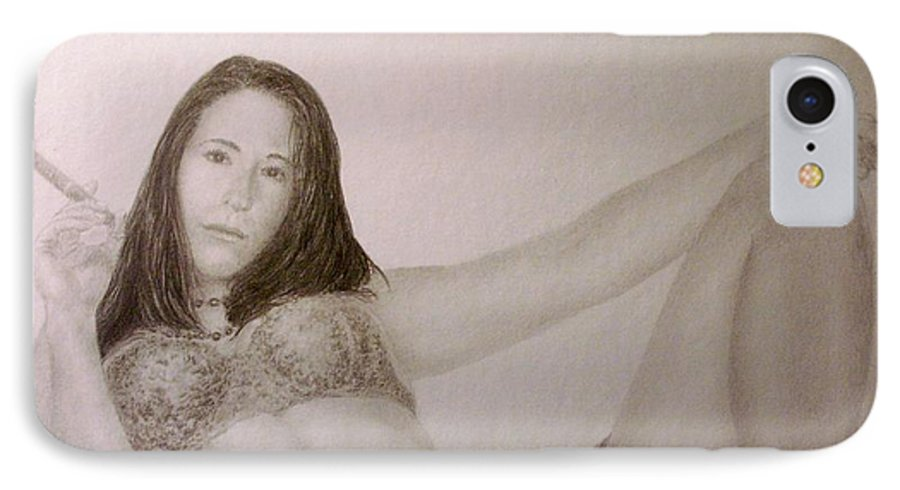 Female Nude Cigars Sexy Portrait Lingerie IPhone 7 Case featuring the drawing Your Move................. by Tony Ruggiero