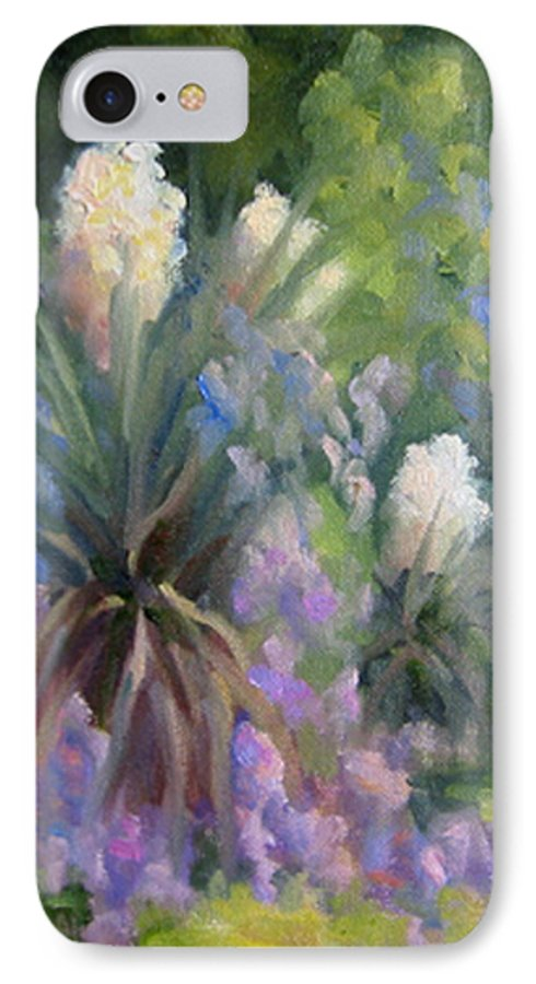 Yucca IPhone 7 Case featuring the painting Yucca And Wisteria by Bunny Oliver