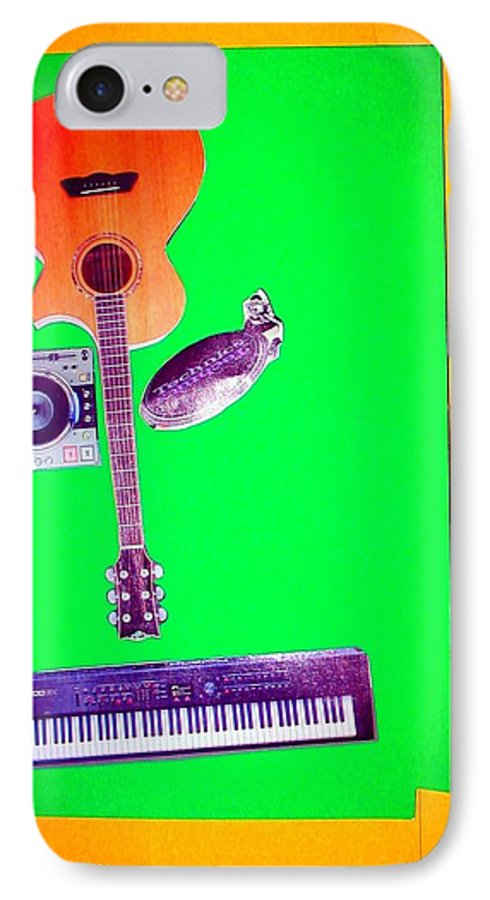 Music IPhone 7 Case featuring the mixed media Yvie's Music Mask by Debra Bretton Robinson